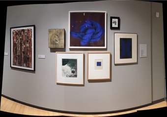 """Photo Image of my  """"Blue Knot"""" print installed in this exhibition  by Photographer Joe Ziolkowski"""